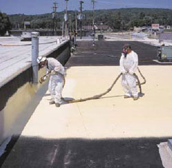 Workers spraying roof for Commercial Roofing in Manassas, Virginia